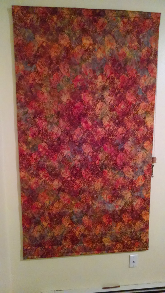 batik fabric Warm Window shade 39wide by 71 tall $75