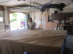 Jo Anne at work making thermal curtains and shades using Warm Windows technology.